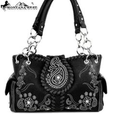 MONTANA WEST CONCEALED WEAPON CARRY GUN *NEW STYLE* WESTERN HANDBAG PURSE-Black