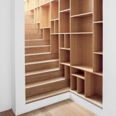 Stairs with lots of room for storage.