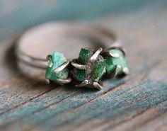 Triple Raw Emerald Sterling Silver Ring  Size 65 by GATHERJEWELRY