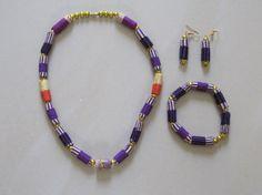 Purple Kente Necklace Bracelet and Earring by TheTravelSistaStore