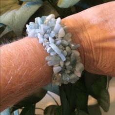 CLEARANCE 🎉🎉Natural stone bracelet MAKE AN OFFER 🎉🎉🎉Beautiful blue woven stretchy natural stone bracelet.  One size fits all. NWOT.  BUNDLE TO GET BEST VALUE Jewelry Bracelets