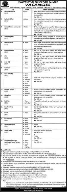 JOBS IN UNIVERSITY OF #EDUCATION LAHORE