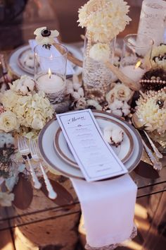 Rustic winter wedding table set up