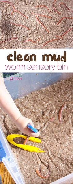 This clean mud worm sensory bin looks like real mud but it's just soap, water, toilet paper, and chocolate crumbs. A great sensory play idea for kids that also develops fine motor skills
