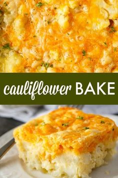 Bake Cauliflower Bake - A cheesy and impossibly easy casserole! Even cauliflower haters love this yummy recipe.Cauliflower Bake - A cheesy and impossibly easy casserole! Even cauliflower haters love this yummy recipe. Side Dish Recipes, Vegetable Recipes, Gourmet Recipes, Beef Recipes, Vegetarian Recipes, Cooking Recipes, Healthy Recipes, Cooking Pork, Dinner Recipes