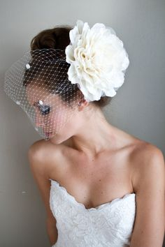 Ivory Flower Birdcage Veil Ready to Ship by MyOliviaNelson on Etsy, $180.00