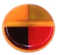 Spectacular Vintage Inlaid Bakelite Button 4-Color XL Laminated Cherry Red etc.
