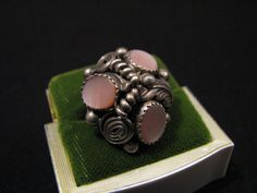 SALE Vimtage Sterling Silver 3 Stone Pink Mother of by ditbge, $75.00