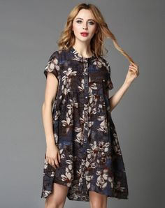 VIPme (VIPSHOP Global) - GUSTAVO ARANGO Dark Blue Floral Vintage Mid-Length Round Neck Outerwear - AdoreWe.com