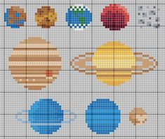 here is a pattern for the solar system for Pdf pattern with colors here. i know that pluto isn't technically a planet, but it was when i learned them so it will always be for me. crafts by month Cross Stitch Bookmarks, Beaded Cross Stitch, Cross Stitch Charts, Cross Stitch Designs, Cross Stitch Embroidery, Cross Stitch Patterns, Hama Beads Patterns, Beading Patterns, Embroidery Patterns