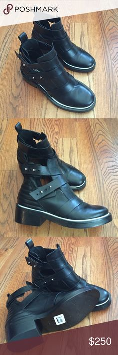 Maje Black Strappy Leather Boots w Piping Detail Beautiful soft leather boots with openings on the side. Great White Piping detail. These boots have never been worn outside and are SUPER unique. They are a size EU 39, but fit like a US 8. There is one missing closure nob on the left boot(noticeable in pictures). ***NWOT. No box or Dustbag. Maje Shoes Combat & Moto Boots