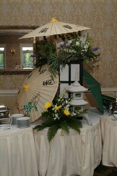 Perfect centerpieces for an Asian themed party. O'Brien Productions 770-422-7200