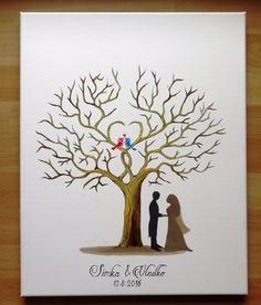 Wedding tree VI, guest book, oil painting