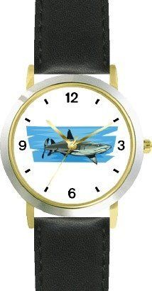 Shark No.2 Animal - WATCHBUDDY® DELUXE TWO-TONE THEME WATCH - Arabic Numbers - Black Leather Strap-Size-Children's Size-Small ( Boy's Size & Girl's Size ) WatchBuddy. $49.95. Save 38% Off!