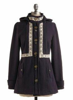 (S) MOD CLOTH Knitted Dove 'Romance Novelist' lace trim sweater Coat Jacket