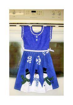 Christmas Dress Kitchen Towel Scarved Snowmen Blue Snowflakes. $15.00, via Etsy.