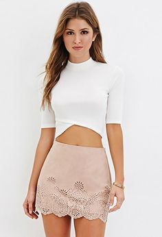 Laser-Cut Faux Suede Mini Skirt | Forever 21 - 2000165196