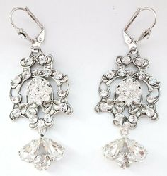 Make your ears sparkle on you Wedding day with these gorgeous Enchanted Atelier Swarovski crystal chandelier earrings! Rent at $35.00!