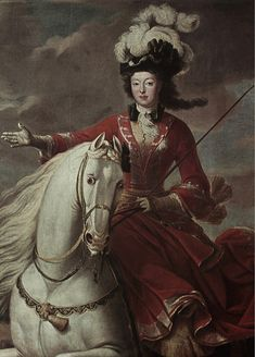 """Elizabeth Cahrlotte d'Orleans,Duchesse de Lorraine by Jean-Baptiste Martin,c.1710-15 how rare is it for a woman to be portrayed in a """"action shot"""" while riding - a truly exciting rendering"""