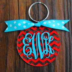 Chevron Monogram Key Chain - $10 She has some of the CUTEST things in her shop!!!