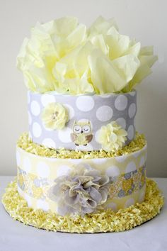 Yellow and Gray Diaper Cake by MckayCakesnCrafts on Etsy, $35.00