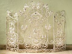 Antique Fireplace Screen, Old World Floral