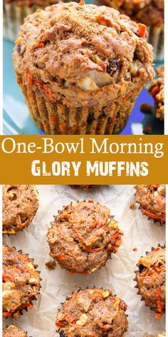 One-Bowl Morning Glory Muffins - All About Health Food Recipes - All About Healt. - One-Bowl Morning Glory Muffins – All About Health Food Recipes – All About Health Food Recipes L - Healthy Breakfast Muffins, Healthy Muffin Recipes, Breakfast Recipes, Snack Recipes, Dessert Recipes, Cooking Recipes, Desserts, Healthy Carrot Muffins, Pineapple Carrot Muffins