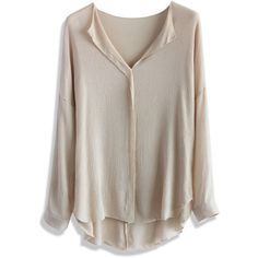 Chicwish V-neck Casual Crepe Top in Taupe ($36) ❤ liked on Polyvore featuring tops, blouses, shirts, blusas, chicwish, beige, shirts & blouses, vneck shirts, beige blouse and long v neck shirts