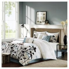 Blake 7 Piece Comforter Set - Blue (Queen) : Target