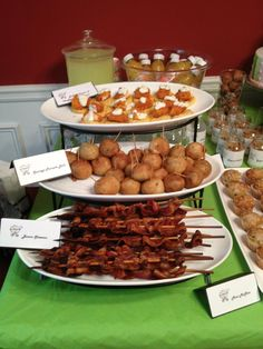 Mini brunch food: Buffalo Chicken and Waffles with Blue Cheese Pancake Sausage Balls Bacon Skewers
