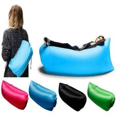 New Air Sleeping Bag Lazy Chair Lounge Beach Sofa Bed Inflatable Camping Blue Outdoor Cushions And Pillows, Sofa Pillows, Couch, Sofa Bed, Beach Sofa, Beach Chairs, Nylons, Festivals, Chaise Longue