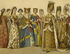 Isabeau with court attendants shown in a 19th-century print