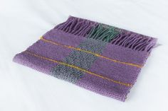 Hand woven wool scarf in petrol green purple and by TheWovenSheep, €45.00