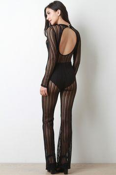Mesh Stripe Keyhole Long Sleeve Jumpsuit