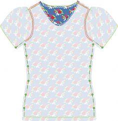 Kostenlose Nähanleitung und Schnittmuster für ein Shirt mit Puff-Ärmel, 34-42