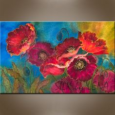 Painting on Silk by Yelena Sidorova Gouache Painting, Fabric Painting, Artist Painting, Painting & Drawing, Painting Flowers, Alcohol Ink Crafts, Expressive Art, Felt Art, Textile Art