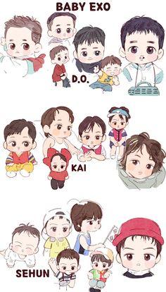 Baby EXO <credits to owner> Kpop Exo, Exo Ot9, Chanyeol, Kyungsoo, Kaisoo, Exo Fanart, Exo Cartoon, Exo For Life, Exo Stickers