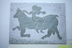 Gravure de Zeus enlevant Europe - Gravure sur pierre à la main de Michel Paris