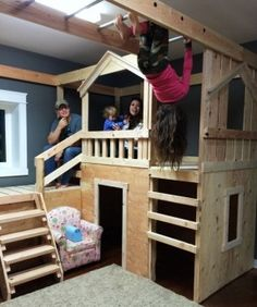 Ana White Build a DIY Basement Indoor Playground with Monkey Bars Free and Easy DIY Project and Furniture Plans Kids Playhouse Plans, Build A Playhouse, Kids Indoor Playhouse, Indoor Forts, Childrens Playhouse, Backyard Playhouse, Childrens Rooms, Indoor Playroom, Playroom Ideas