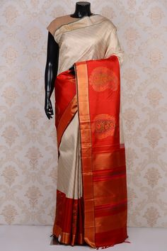 #Cream classy #kanchipuram silk #saree with Organish red border-SR18699- #PURE KANCHIPURAM SILK SAREE