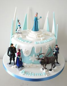 Disney Frozen themed birthday caked. Perhaps some dripy snow for the cake?
