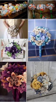 Roses and origami fabric and paper bouquets