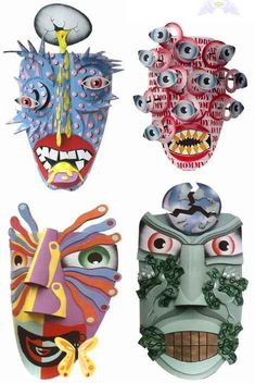 """Dag Weiser Cardboard mask.  The site has """"5 Amazing Cardboard Artists and Their Sculptures"""" - really awesome! (SS)<br> Cardboard Mask, Cardboard Sculpture, Sculpture Lessons, Sculpture Projects, 3d Art Projects, Middle School Art, Art School, High School Art Projects, High School Crafts"""