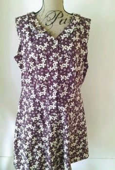 Vintage Retro Peter Pan Collar Dress Floral Burgandy Brown Plus Size 16/18 #None #ALineSwing #Casual