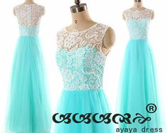 A-line Floor Length Lace Bridesmaid Dress tulle Prom by ayayadress