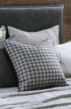 This soft washed woollen cushion is the ultimate fusion of fashion and homewares. Beautiful garment wool in a light grey plaid reverses to a copper parquet design. wool front and reverse Duck feather inner included Bed Linen Design, Bed Design, Linen Fabric, Linen Bedding, Fine Linens, Contemporary Interior, Bed Spreads, Interior Decorating, Cushions