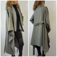 Grey Long Wool Coat Winter Cape Coat Cashmere par MDSewingAtelier J adorrrrre !...