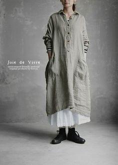 【送料無料】Joie de Vivre ベルギーリネンビエラバイオウッシュワークシャツワンピース