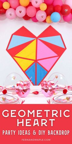 Colorful and modern Geometric Heart Valentine