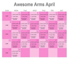 Awesome Arms April.  I wish they did another abs one, since I want to focus on that more, but arms are my second problem area, so not complaining!